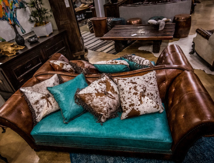 Turquoise-Double-Leather-Sofa